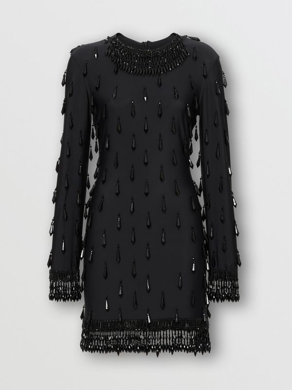 Long-sleeve Embellished Mini Dress in Black - Women | Burberry - cell image 3