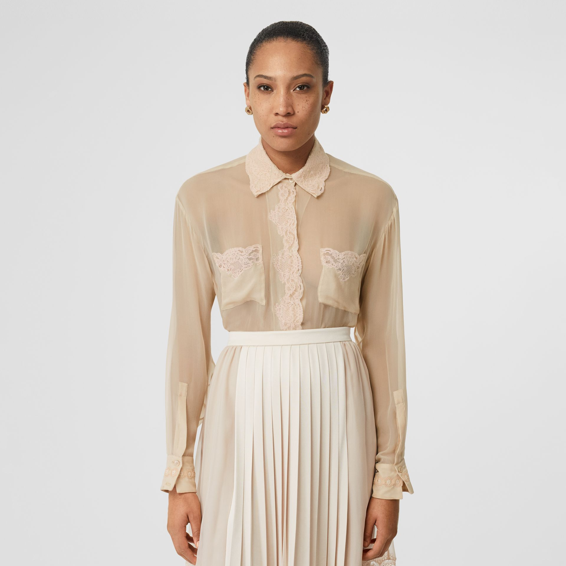 Lace Detail Silk Chiffon Shirt in Soft Peach - Women | Burberry - gallery image 0