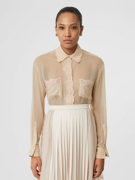 Lace Detail Silk Chiffon Shirt in Soft Peach