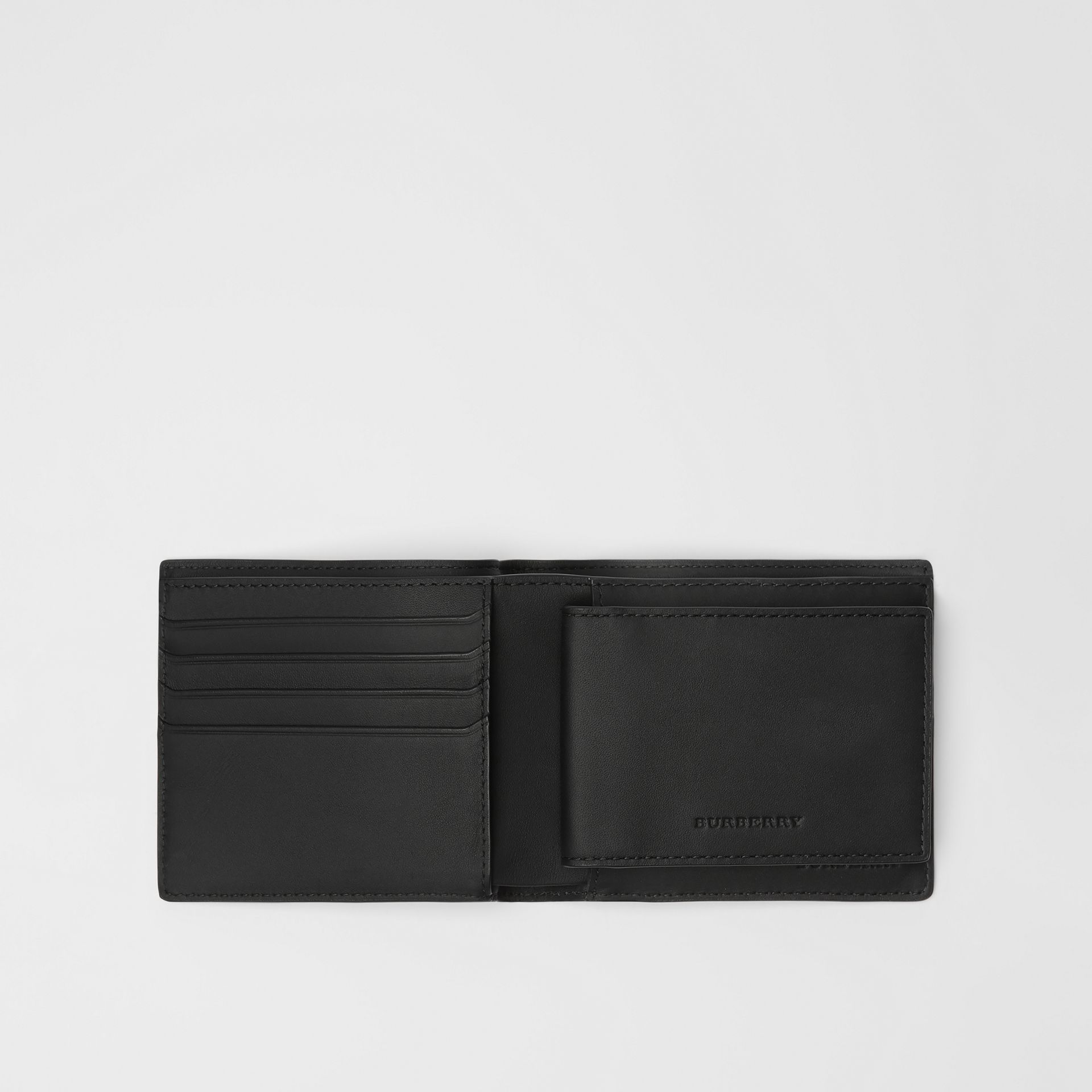 London Check Bifold Wallet with ID Card Case in Navy/black - Men | Burberry - gallery image 2