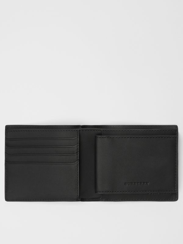 London Check Bifold Wallet with ID Card Case in Navy/black - Men | Burberry Australia - cell image 2