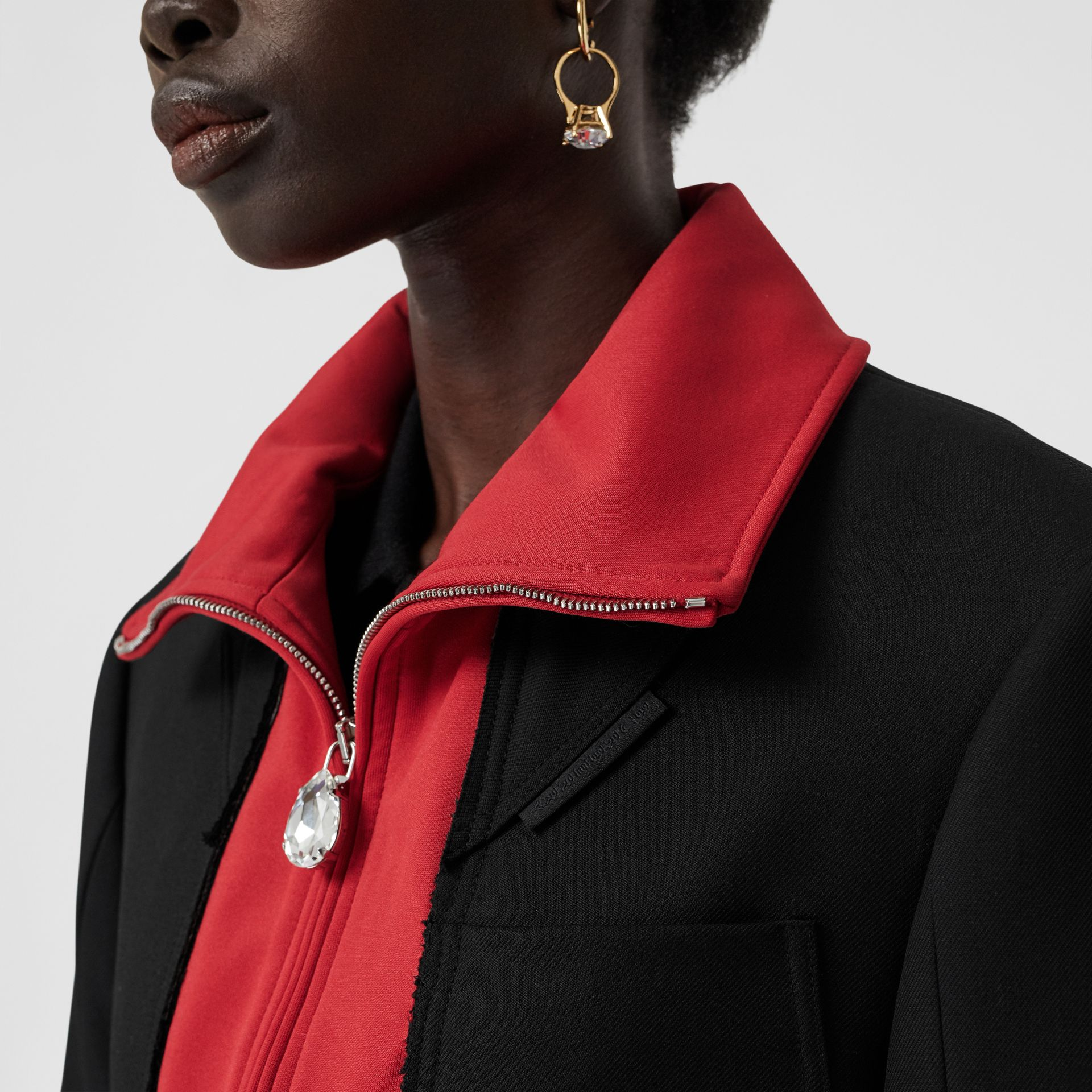 Track Top Detail Wool Twill Tailored Jacket in Black - Women | Burberry - gallery image 4