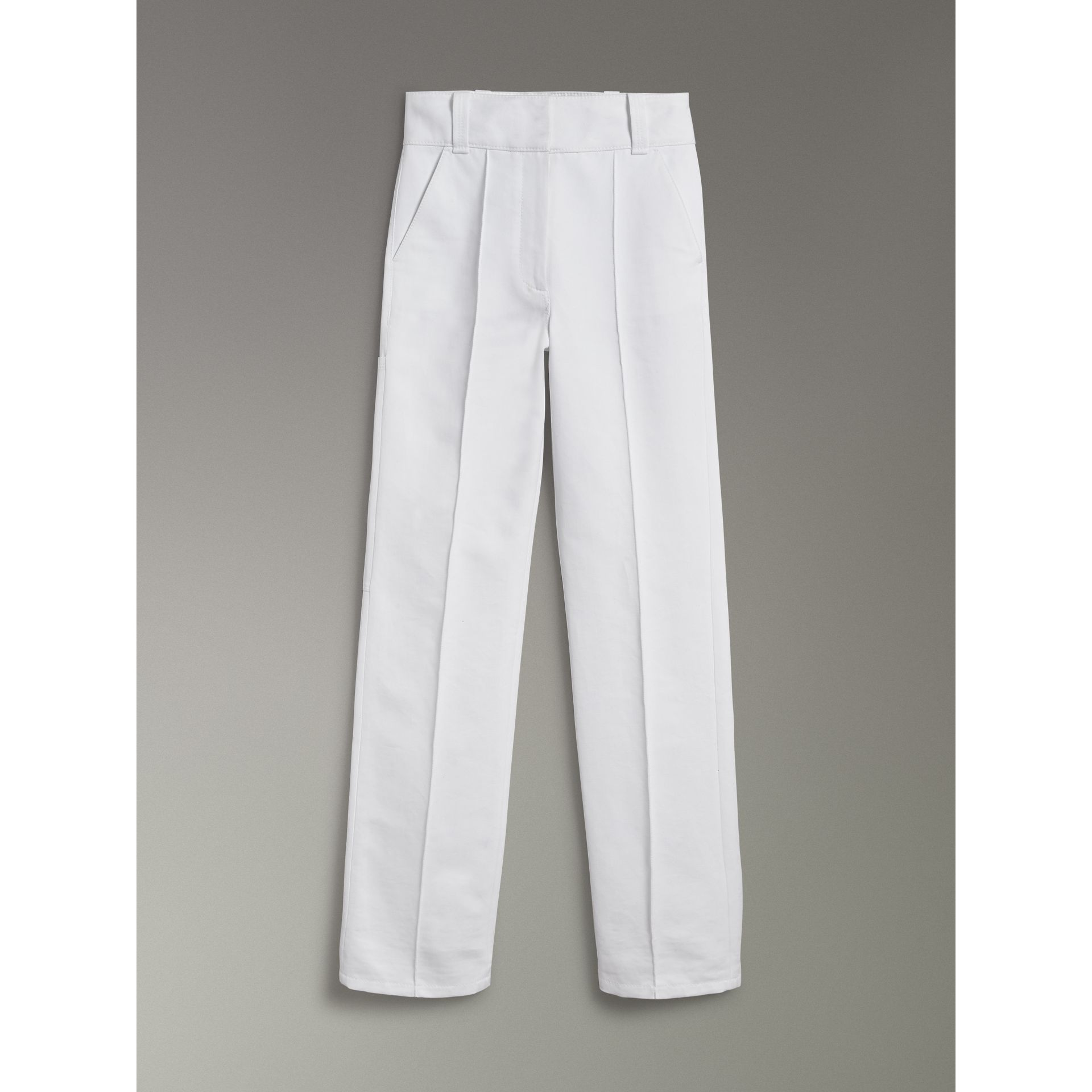 Cotton Drill High-waisted Trousers in White - Women | Burberry - gallery image 3