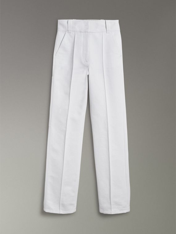 Cotton Drill High-waisted Trousers in White - Women | Burberry - cell image 3