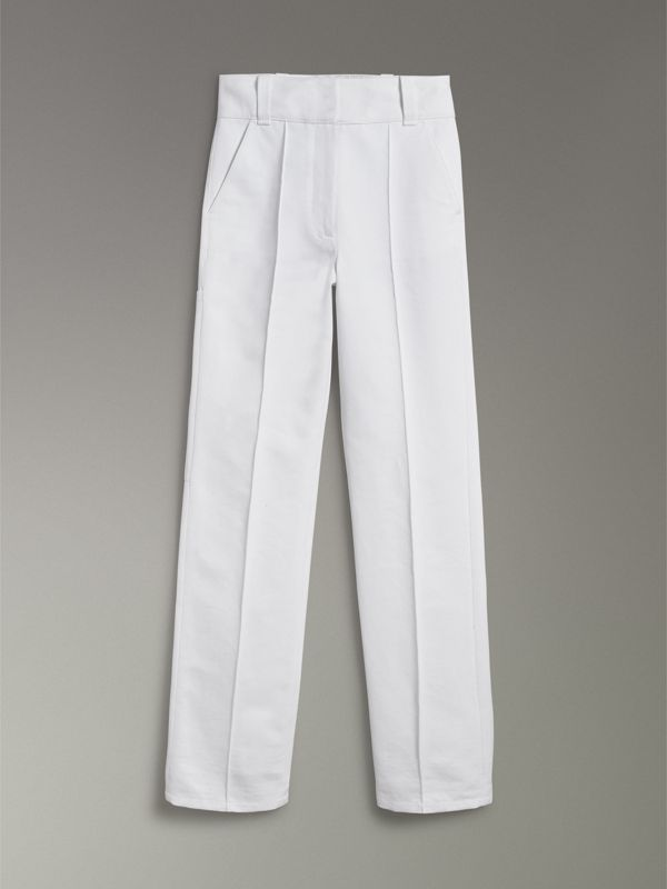 Cotton Drill High-waisted Trousers in White - Women | Burberry United Kingdom - cell image 3