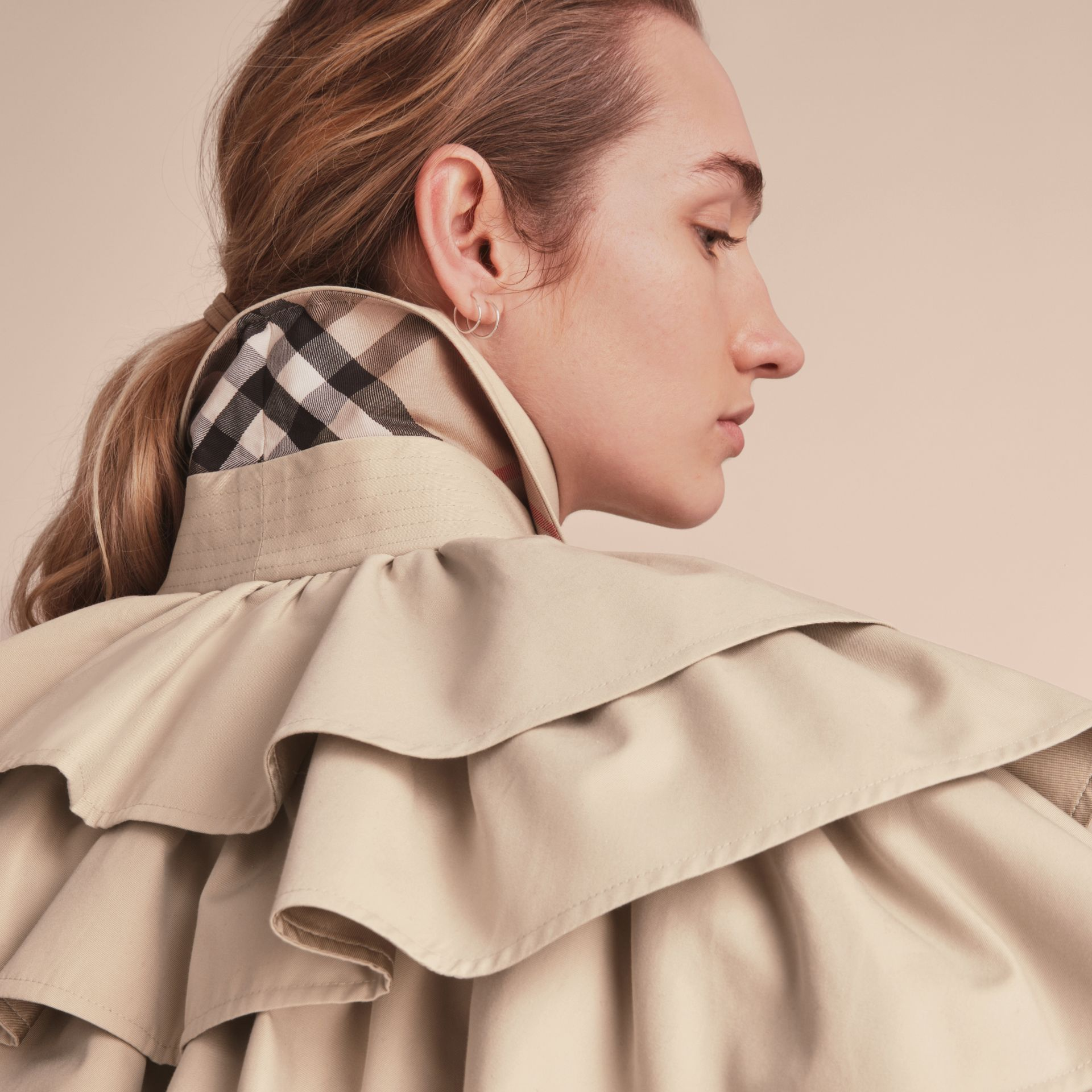Cotton Gabardine Gathered Capelet in Stone - Women | Burberry - gallery image 4