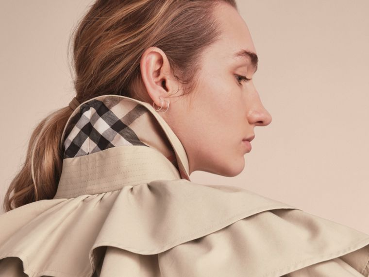 Cotton Gabardine Gathered Capelet in Stone - Women | Burberry - cell image 4