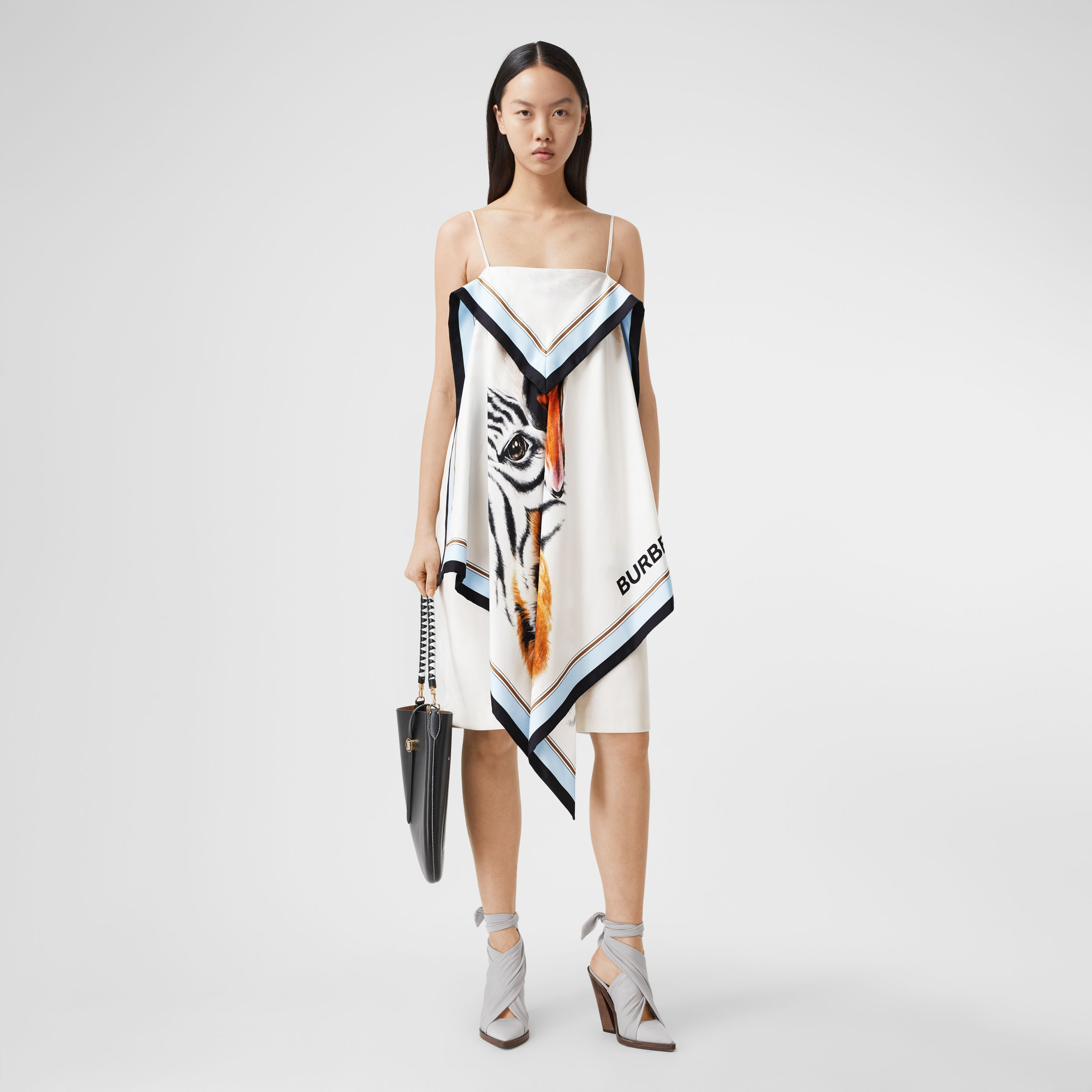 Animalia Print Silk Scarf Dress in Porcelain - Women | Burberry - 1