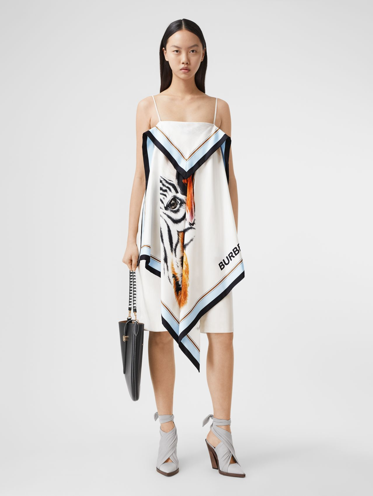 Animalia Print Silk Scarf Dress in Porcelain
