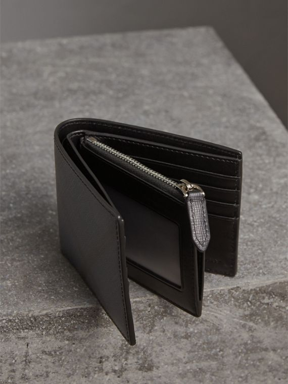 London Check International Bifold ID Coin Wallet in Navy/black - Men | Burberry - cell image 3