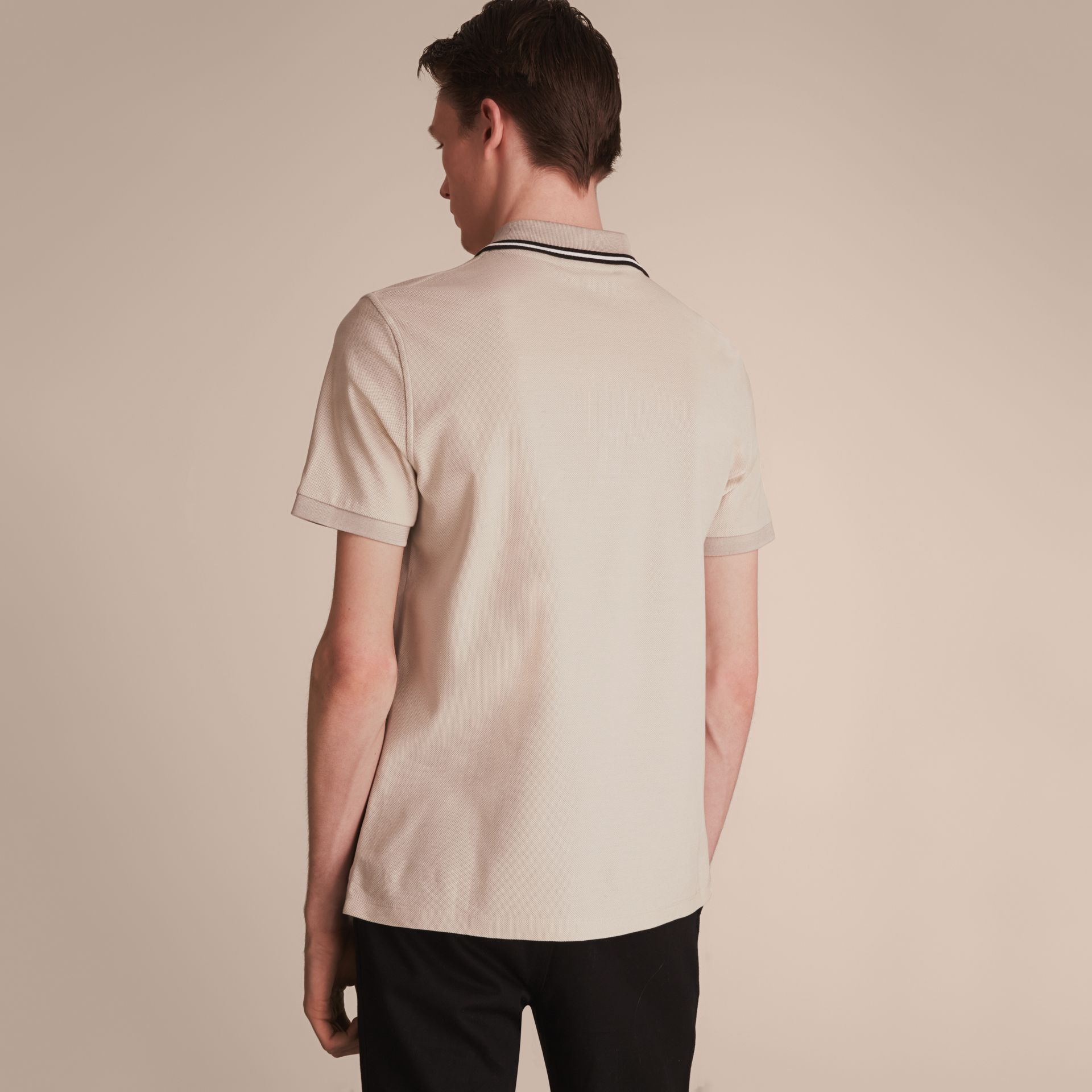 Striped Collar Cotton Piqué Polo Shirt in Stone - gallery image 3