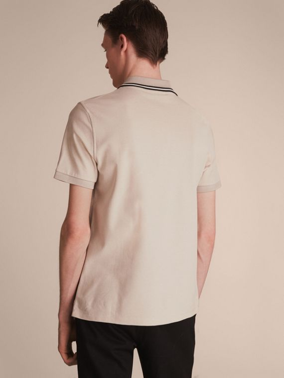 Striped Collar Cotton Piqué Polo Shirt in Stone - cell image 2