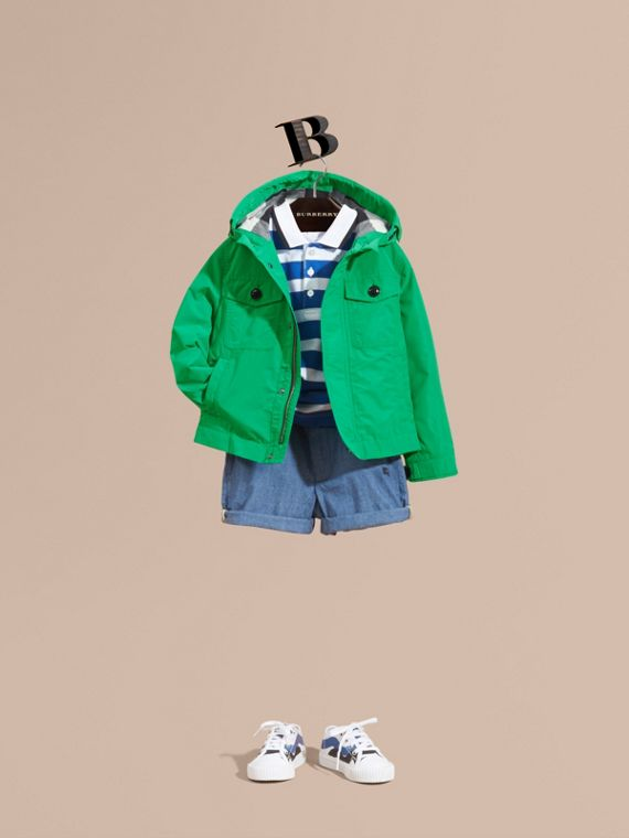Hooded Field Jacket in Bright Green - Boy | Burberry Canada