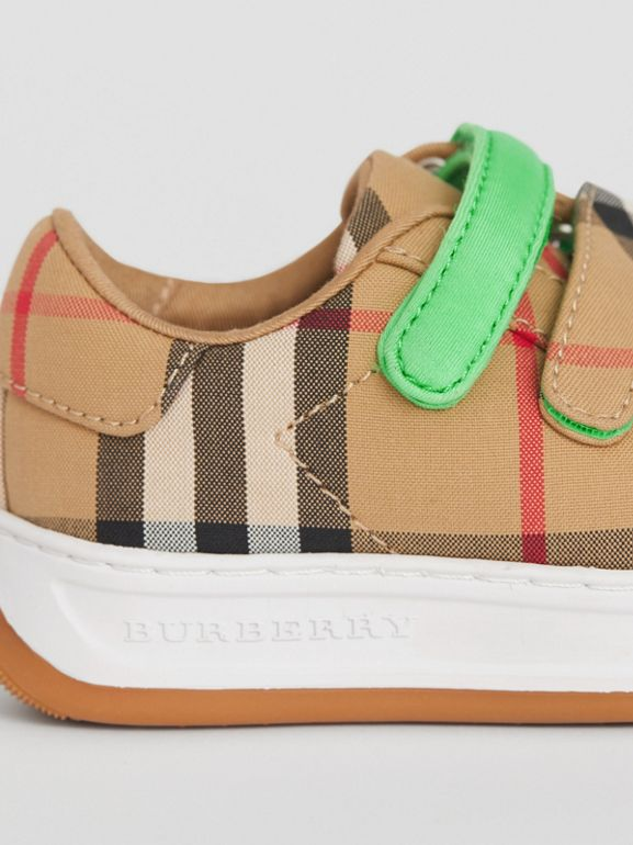 Vintage Check Sneakers in Antique Yellow/neon Green - Children | Burberry Hong Kong - cell image 1