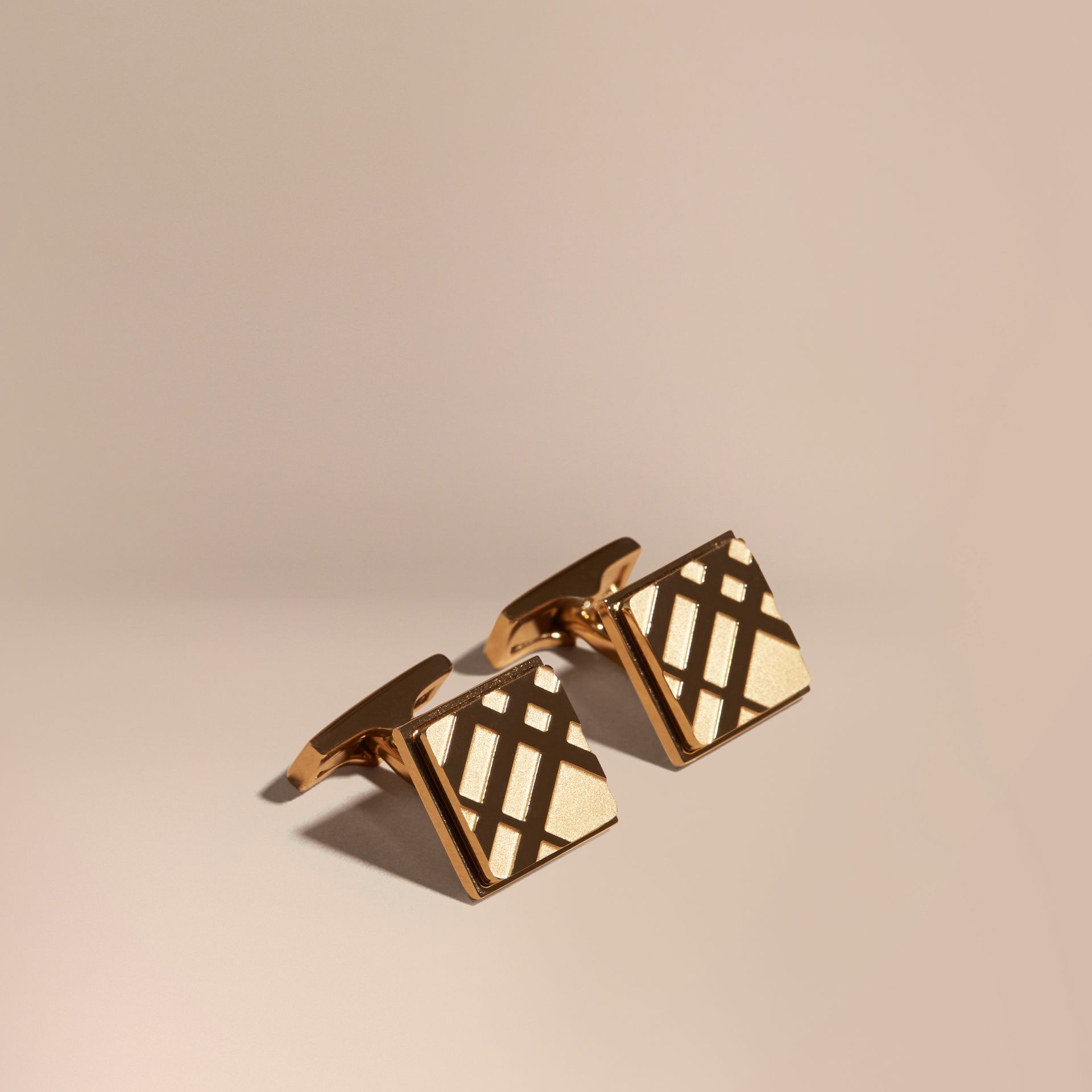 Check-engraved Square Cufflinks in Pale Gold - Men | Burberry Canada - gallery image 1