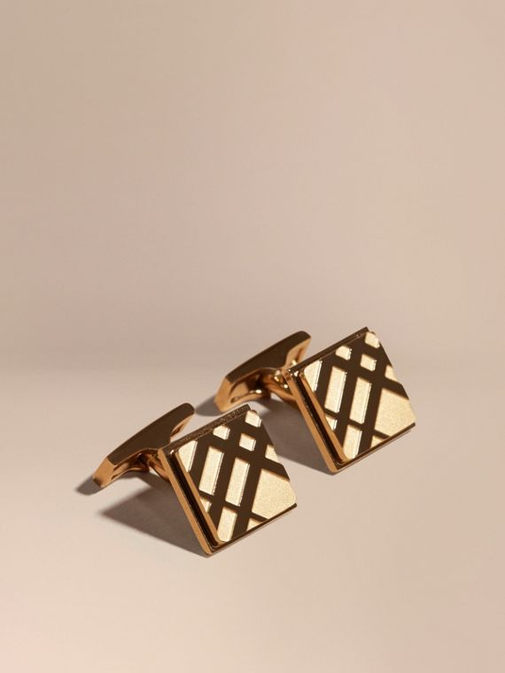 Check-engraved Square Cufflinks in Pale Gold - Men | Burberry Singapore