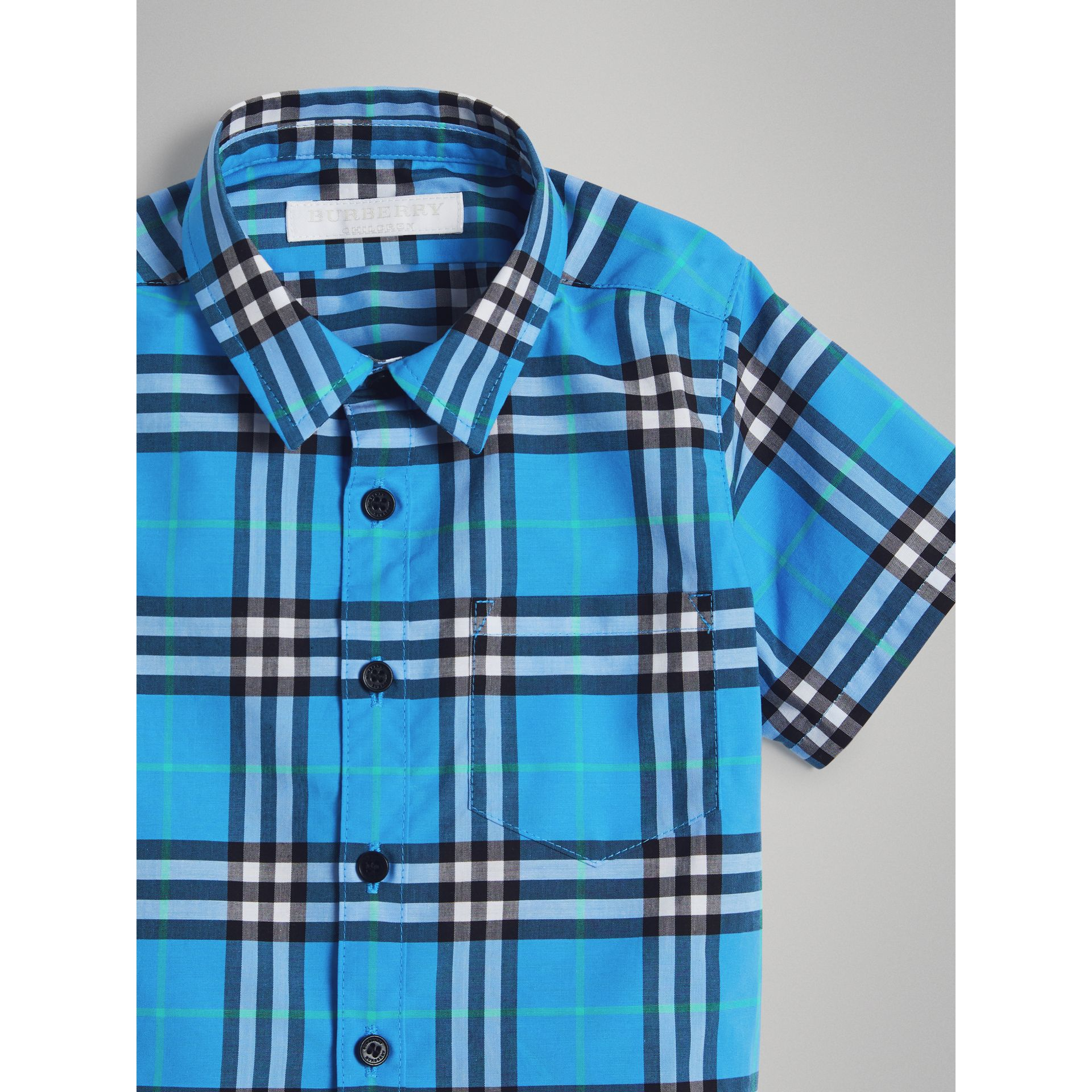 Short-sleeve Check Cotton Shirt in Azure Blue | Burberry - gallery image 4