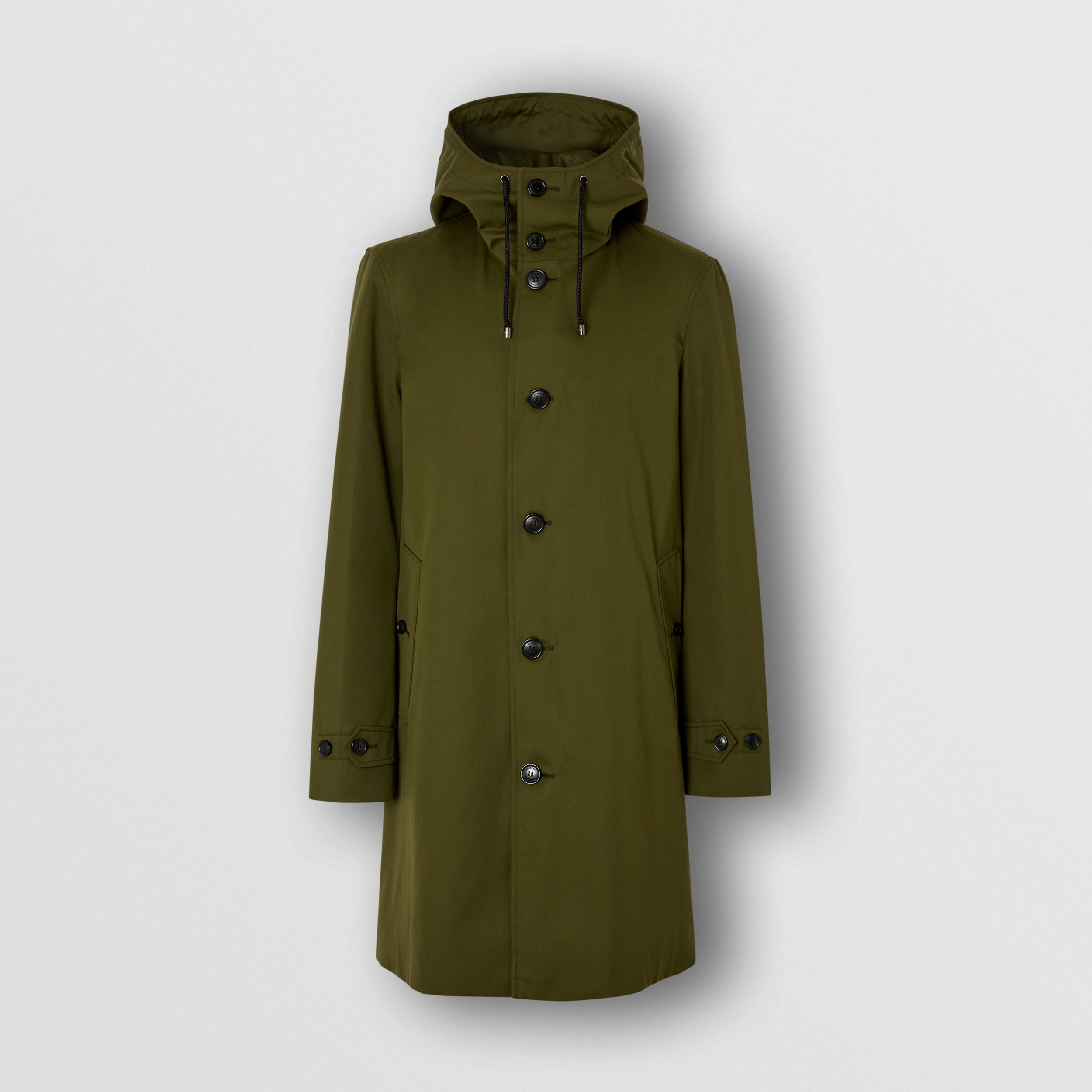 Cotton Gabardine Hooded Coat in Dark Olive Green - Men | Burberry - 4