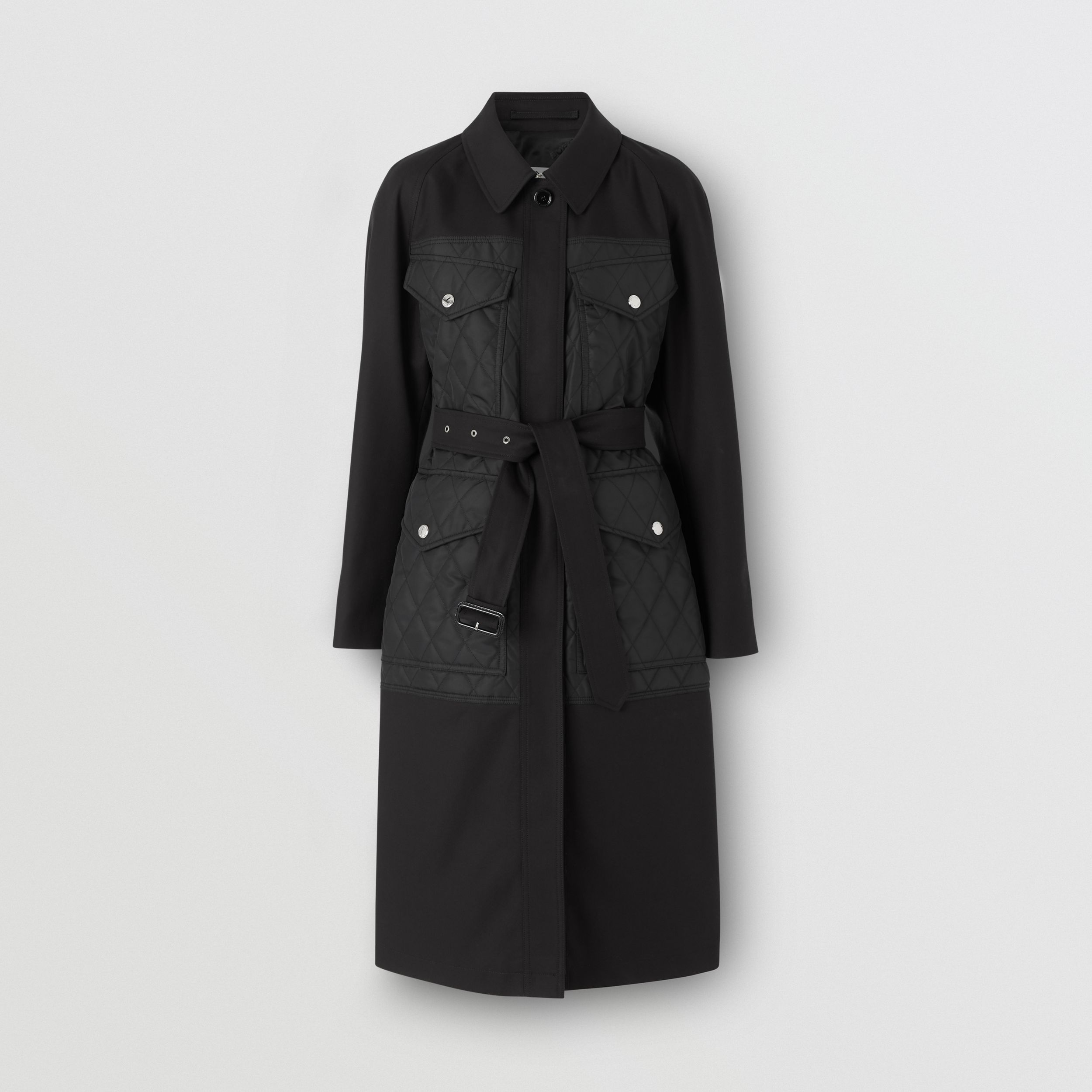 Diamond Quilted Panel Cotton Gabardine Car Coat in Black - Women | Burberry - 4