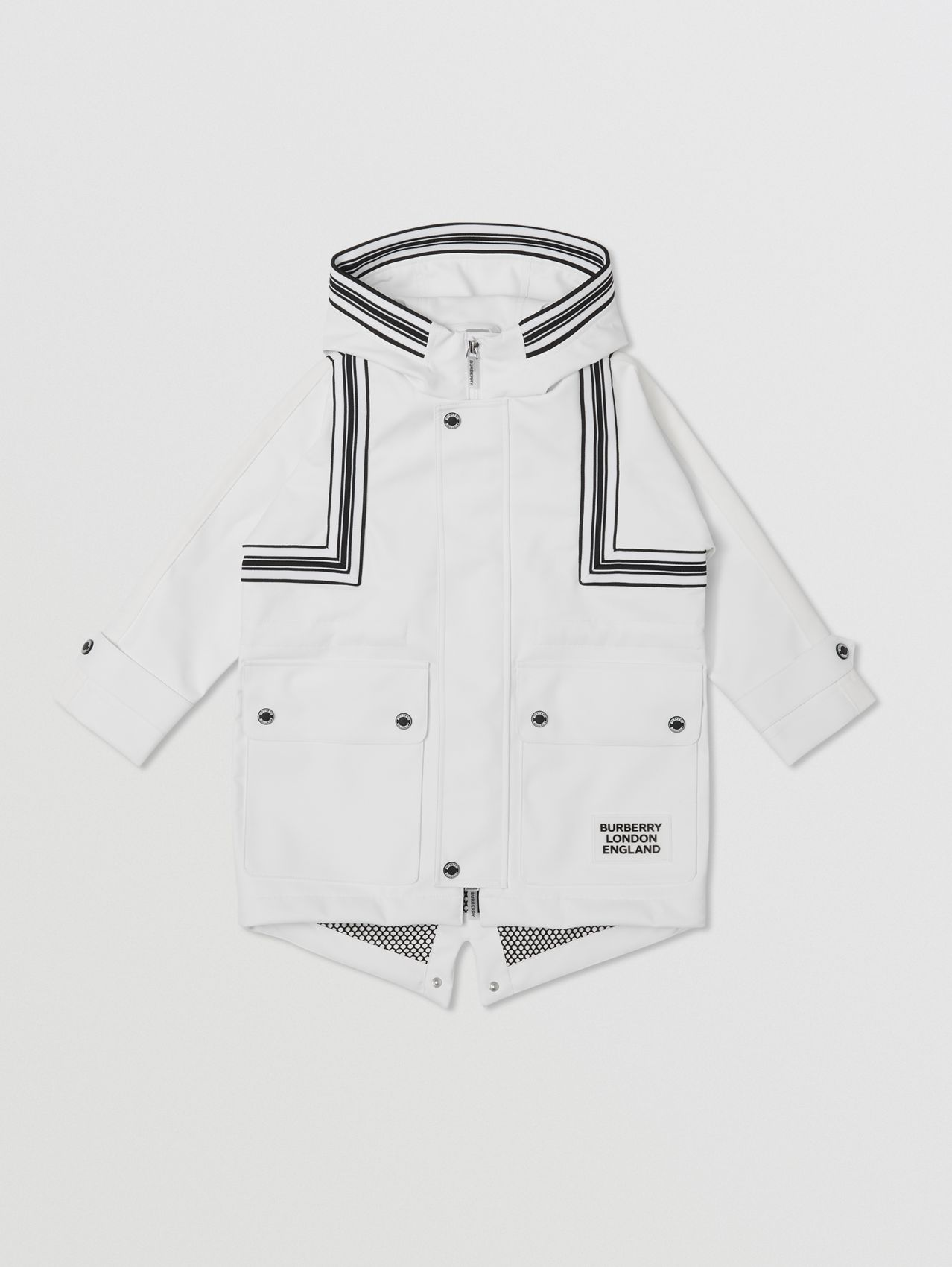 Rib Knit Stripe Detail Panelled Parka in White