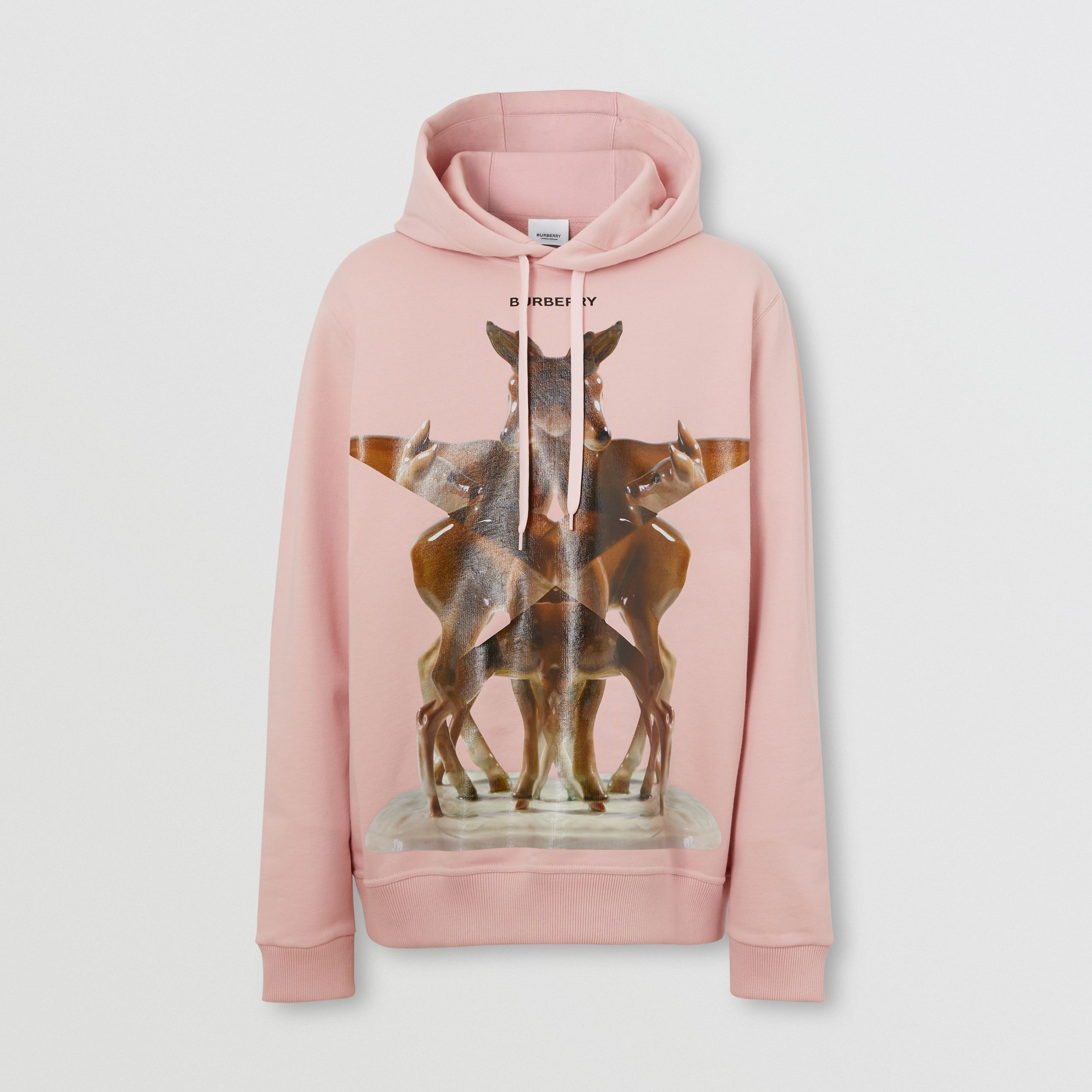 Kaleidoscope Print Cotton Hoodie in Frosted Pink - Men | Burberry - 4