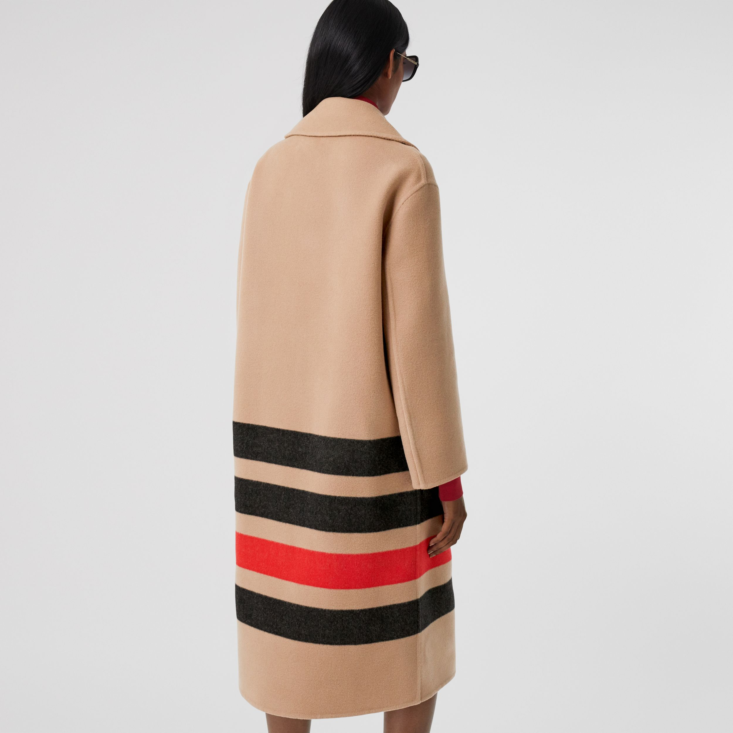 Stripe Detail Double-faced Wool Coat in Light Camel - Women | Burberry - 3