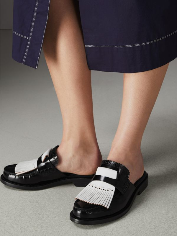 Contrast Kiltie Fringe Leather Mules in Black - Women | Burberry Australia - cell image 2