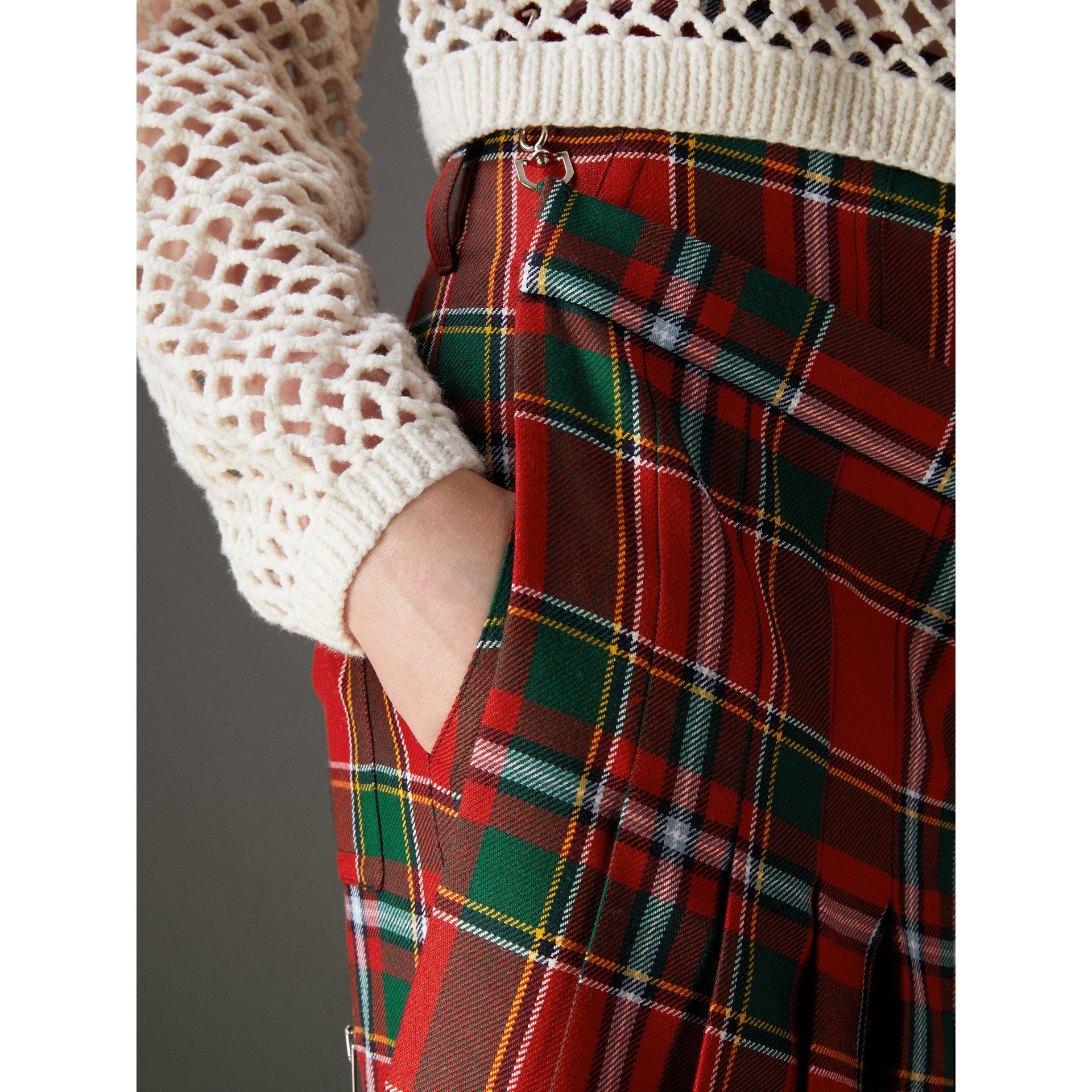 Modern Stewart Royal Tartan Punk Trousers in Bright Red - Women | Burberry Australia - gallery image 4