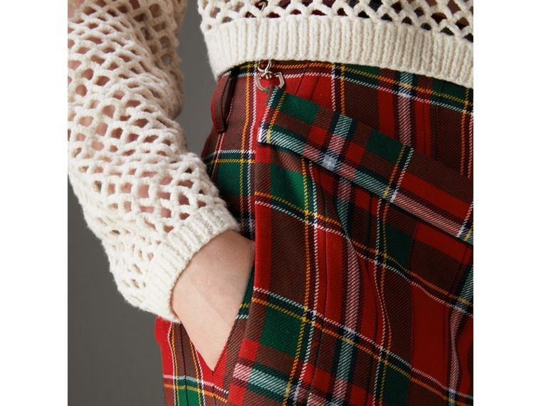 Modern Stewart Royal Tartan Punk Trousers in Bright Red - Women | Burberry - cell image 4