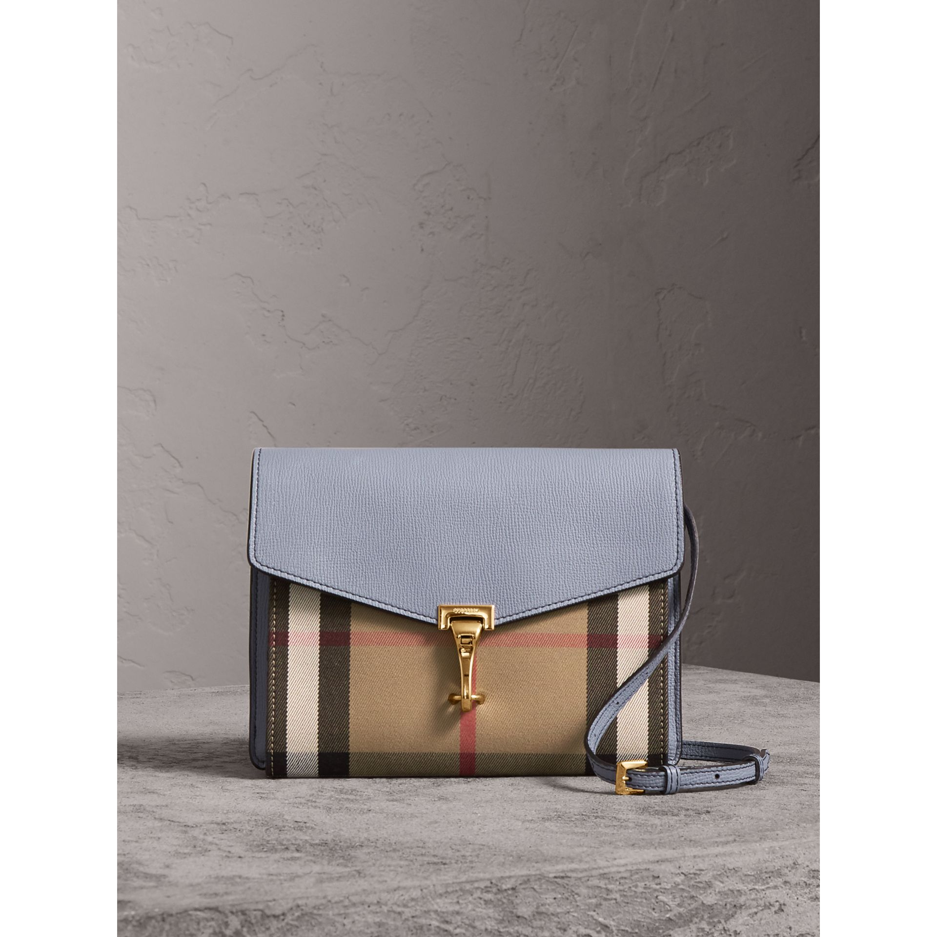 Small Leather and House Check Crossbody Bag in Slate Blue - Women | Burberry - gallery image 0