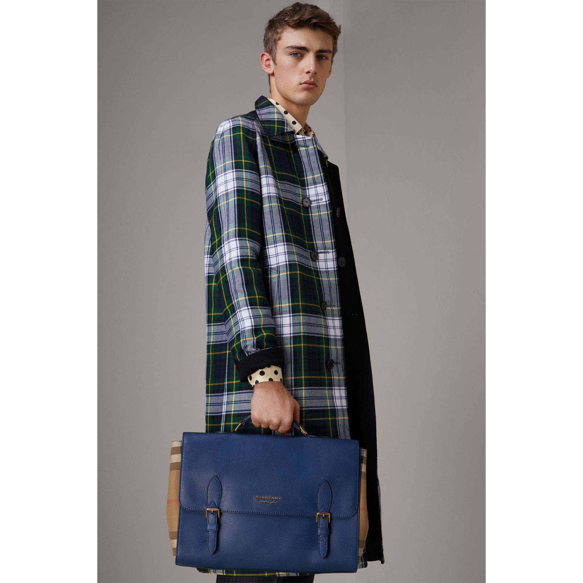 Leather and House Check Satchel in Deep Blue - Men | Burberry Australia - gallery image 3