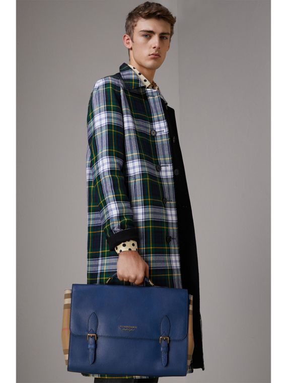 Leather and House Check Satchel in Deep Blue - Men | Burberry - cell image 2