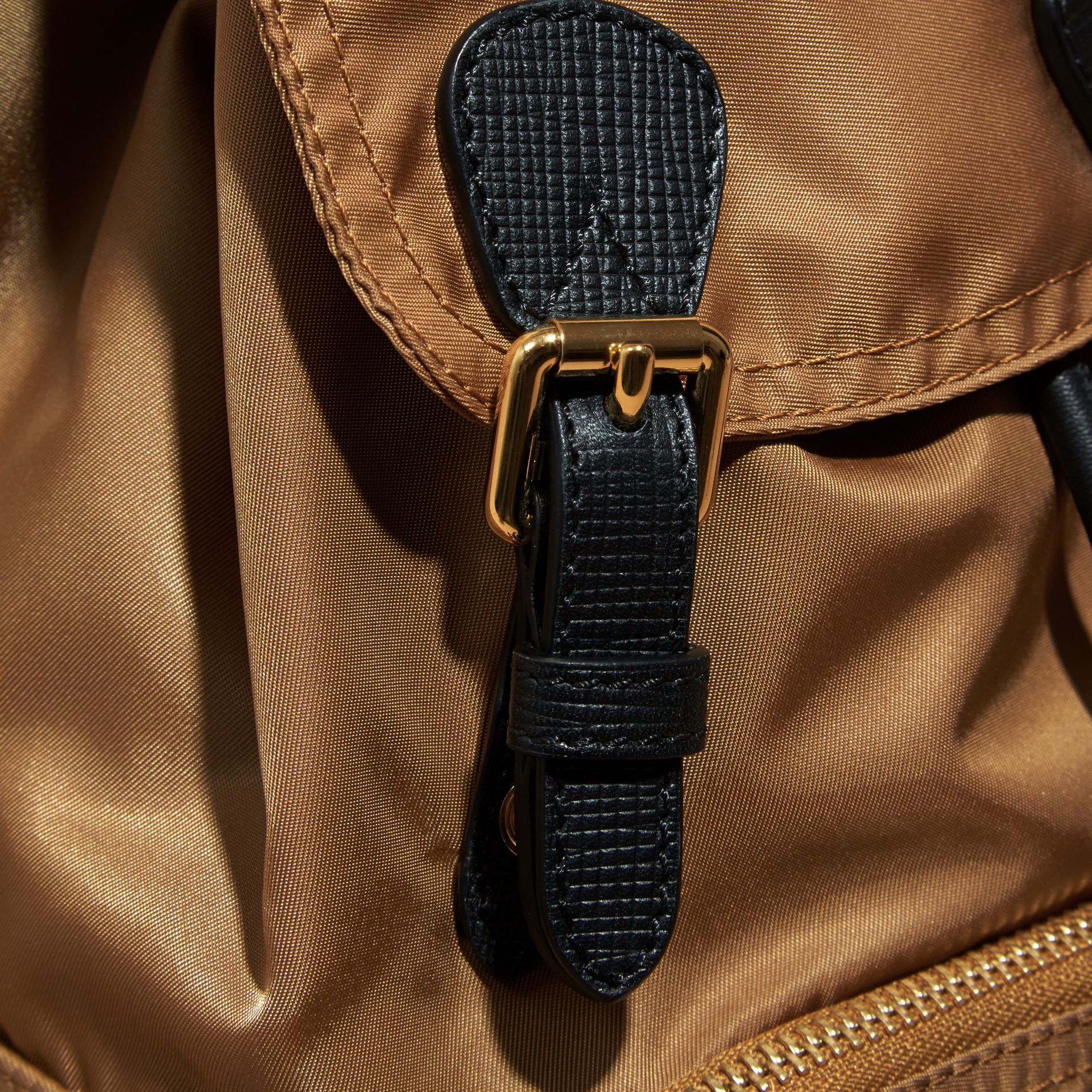 The Small Rucksack in Technical Nylon and Leather in Light Flax - gallery image 2