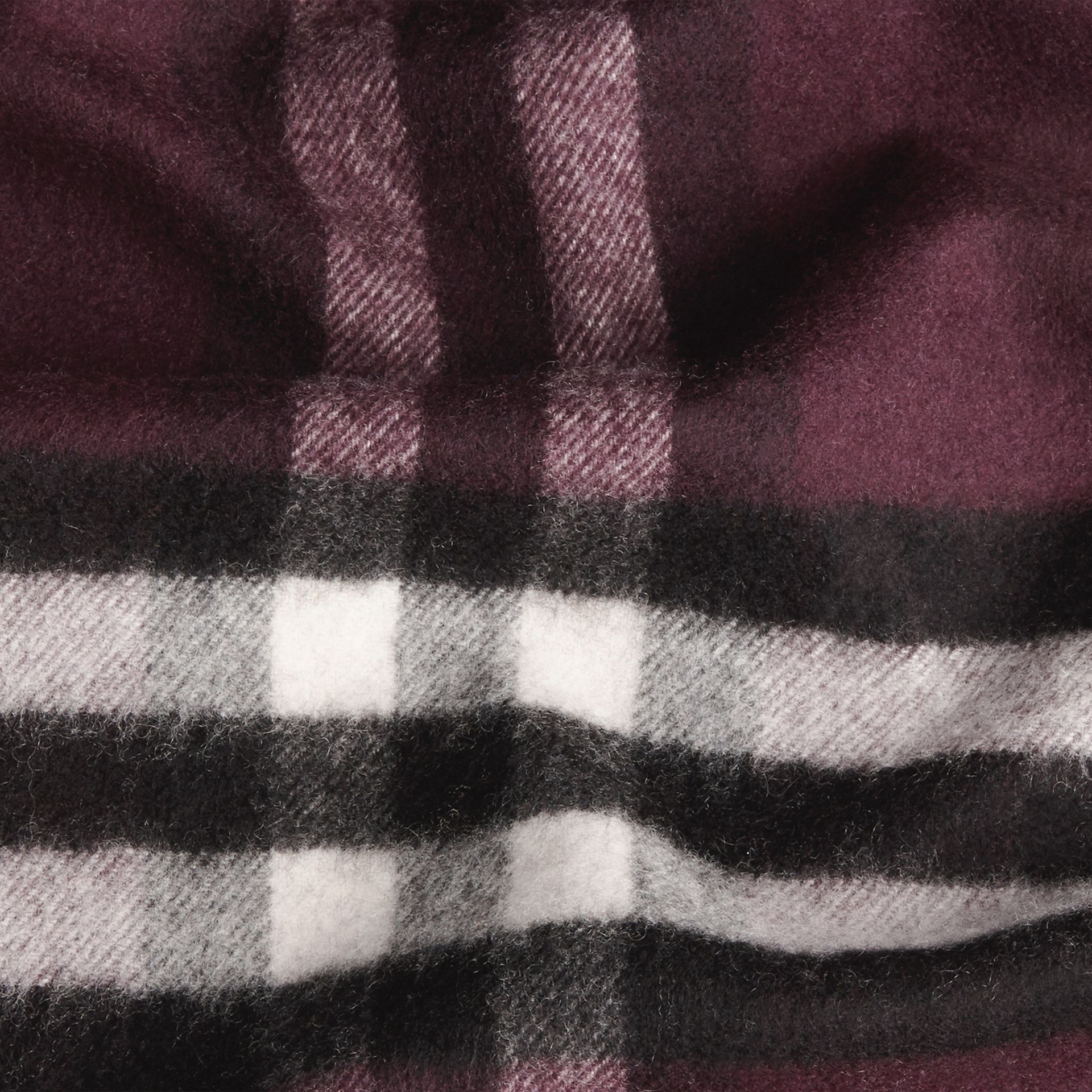 The Classic Cashmere Scarf in Check Aubergine - gallery image 5