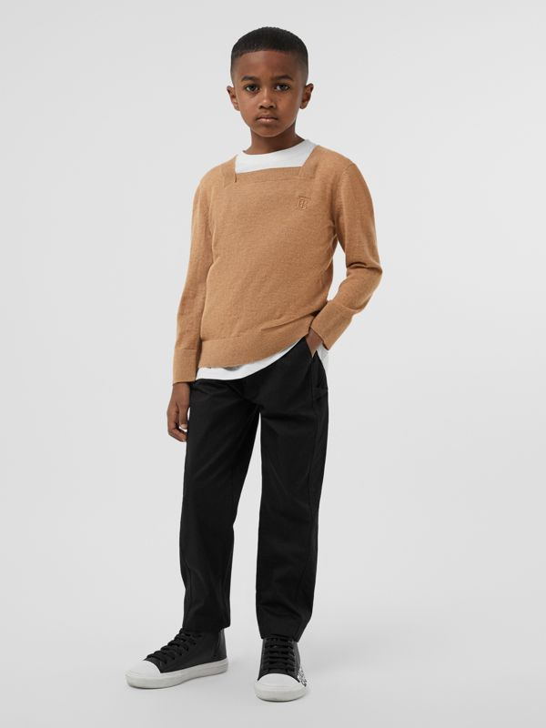 Monogram Motif Cashmere Sweater in Camel | Burberry - cell image 2