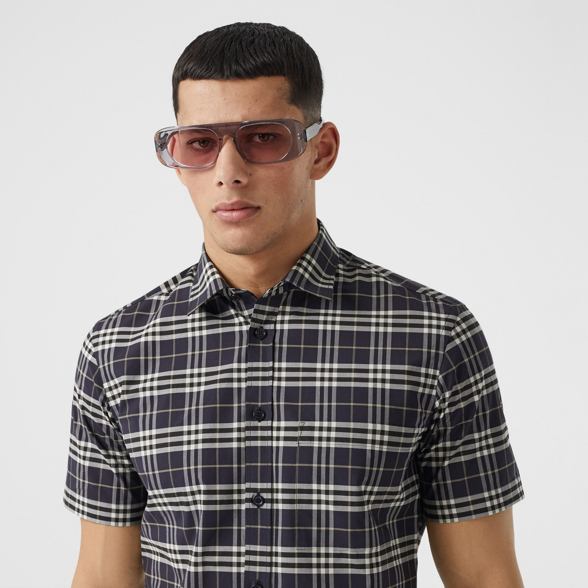 Short-sleeve Small Scale Check Stretch Cotton Shirt in Dark Regency Blue - Men | Burberry - gallery image 1