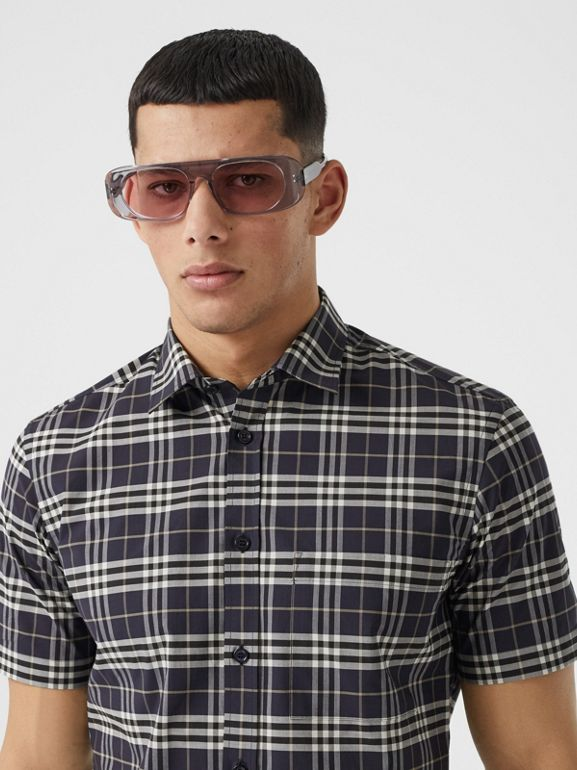 Short-sleeve Small Scale Check Stretch Cotton Shirt in Dark Regency Blue - Men | Burberry - cell image 1