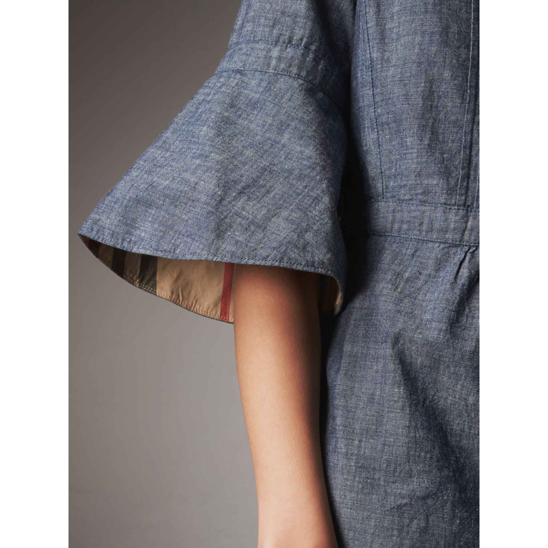 Bell Sleeve Cotton Chambray Dress with Check Detail - Women | Burberry - gallery image 2