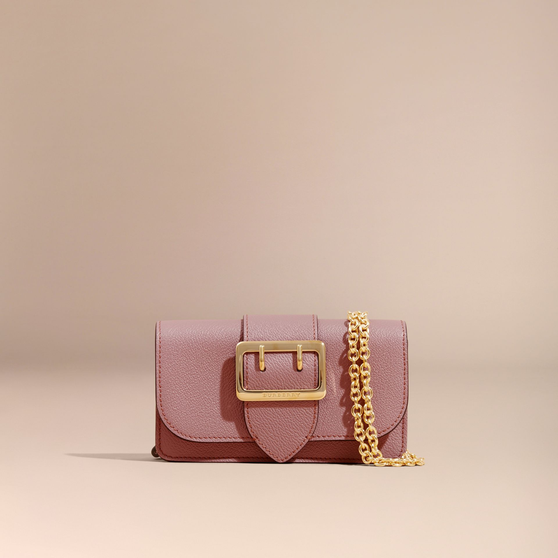 The Mini Buckle Bag in Grainy Leather Dusty Pink - gallery image 9