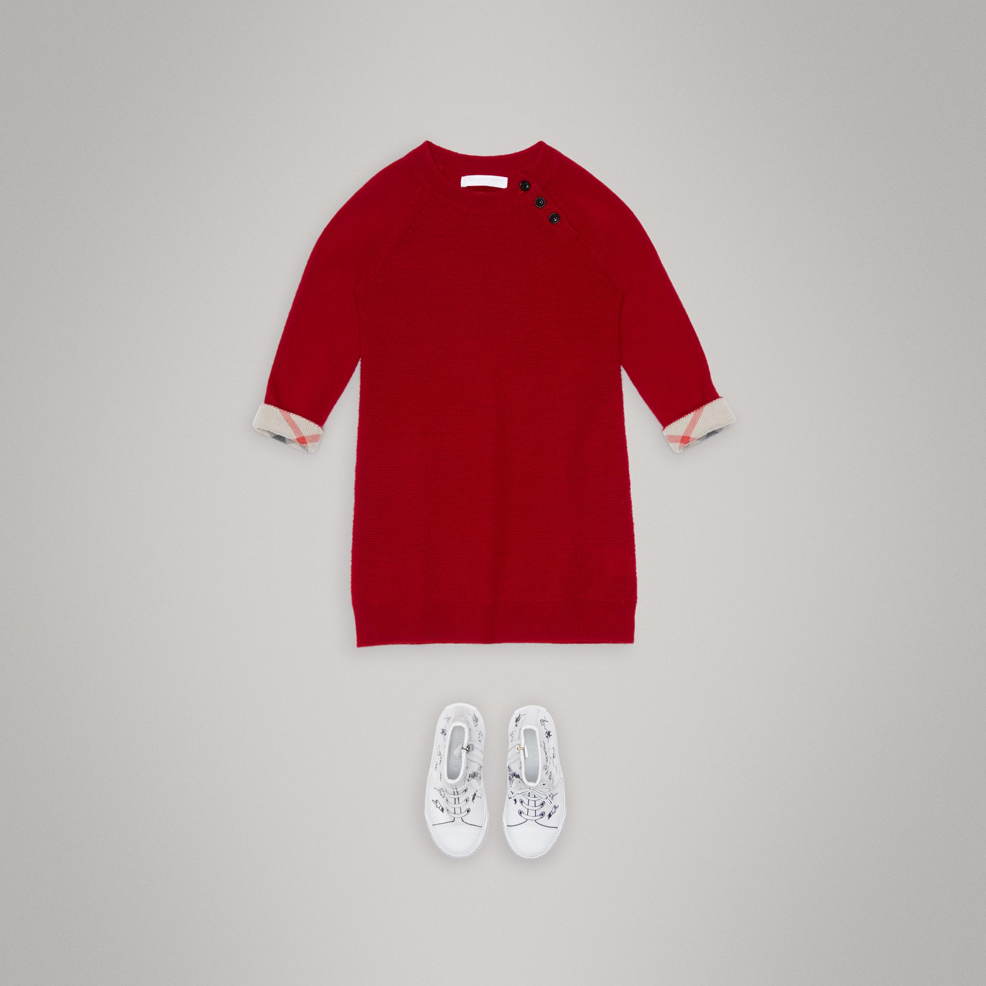 Cashmere Sweater Dress in Parade Red - Girl | Burberry - gallery image 2