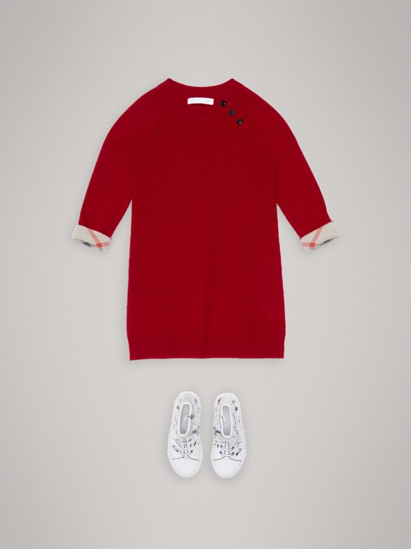 Cashmere Sweater Dress in Parade Red | Burberry - cell image 2