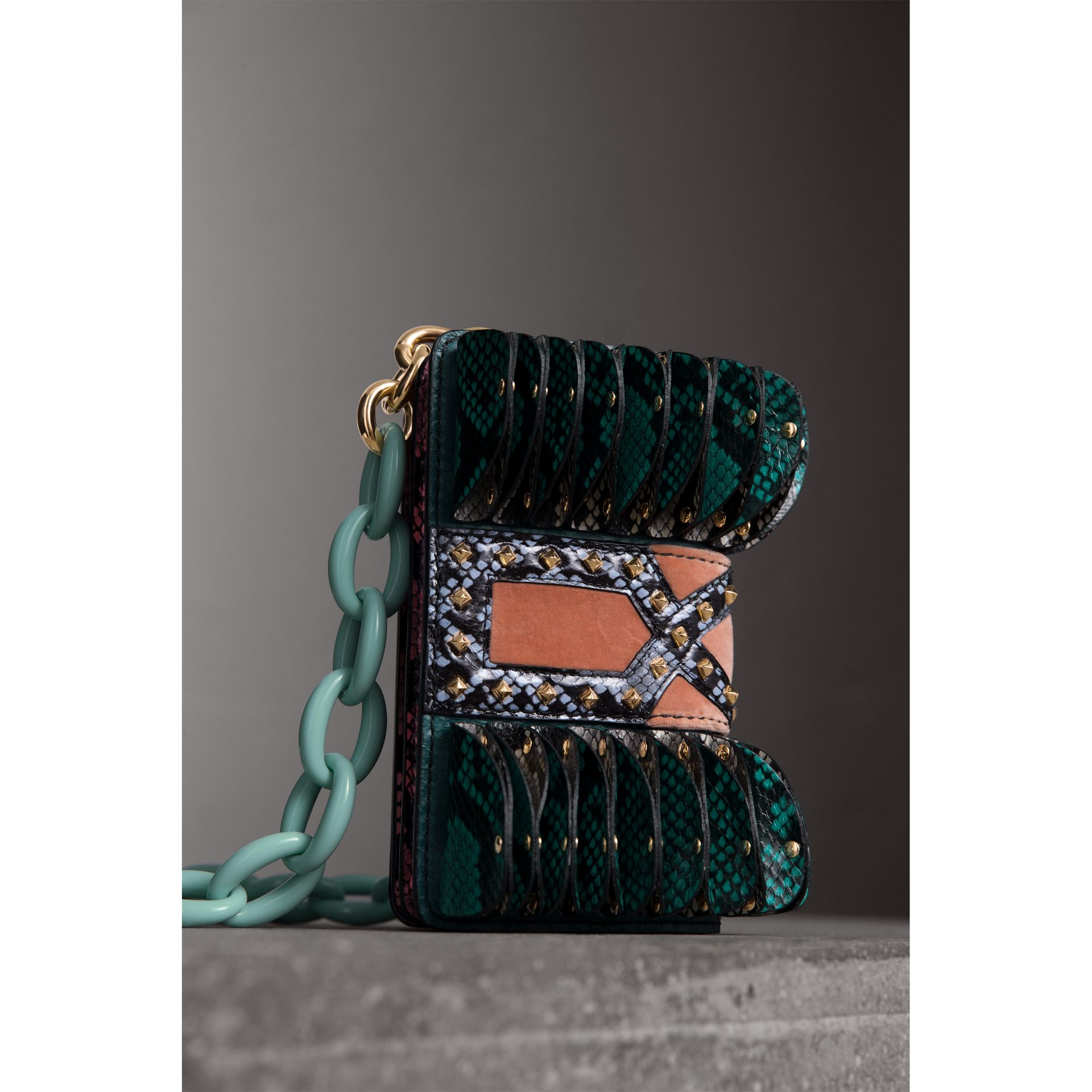 The Ruffle Buckle Bag in Snakeskin and Velvet in Teal - Women | Burberry Australia - gallery image 5