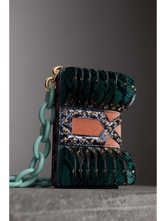 Sac The Ruffle Buckle en peau de serpent et velours (Canard) - Femme | Burberry - cell image 3