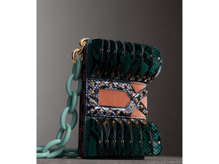 The Ruffle Buckle Bag in Snakeskin and Velvet in Teal - Women | Burberry - cell image 4