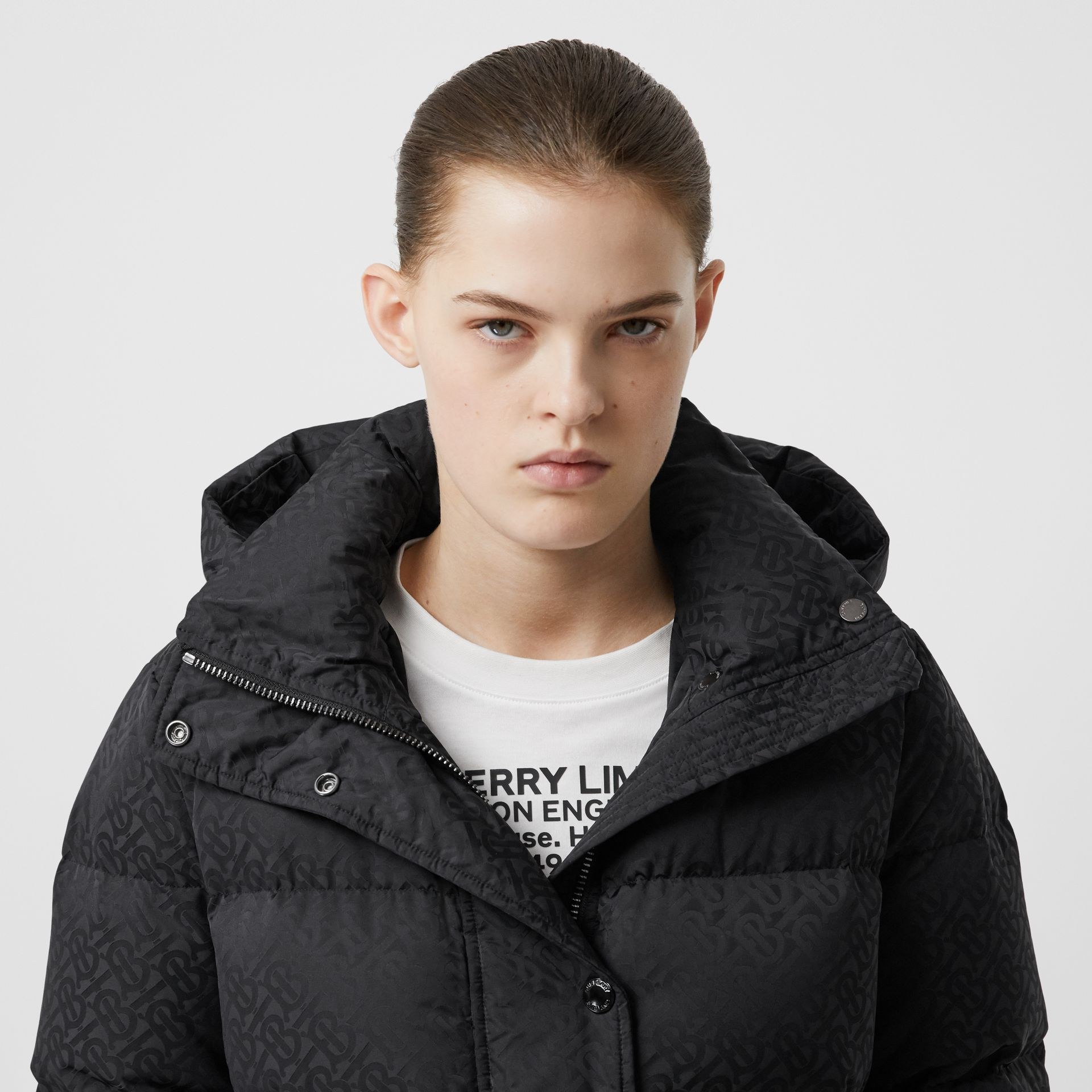 Detachable Hood Monogram ECONYL® Puffer Coat in Black - Women | Burberry United Kingdom - gallery image 1