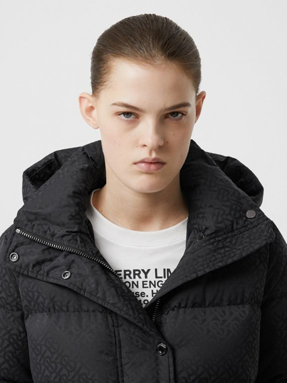 Detachable Hood Monogram ECONYL® Puffer Coat in Black - Women | Burberry - cell image 1