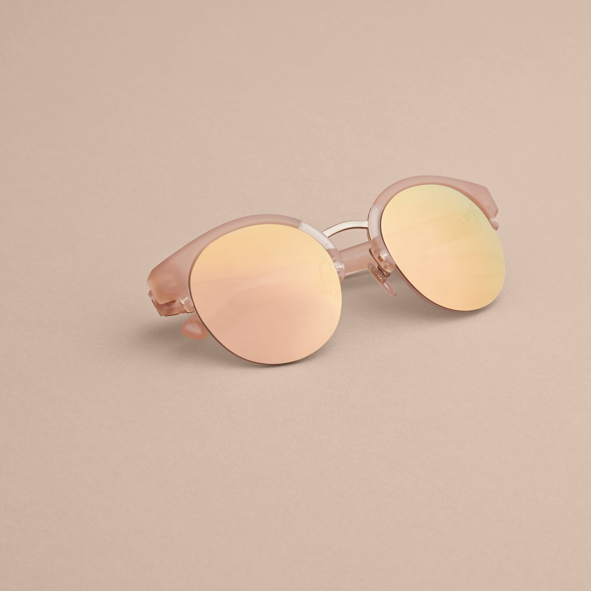 Check Detail Round Half-frame Sunglasses in Nude - Women | Burberry Singapore - gallery image 5