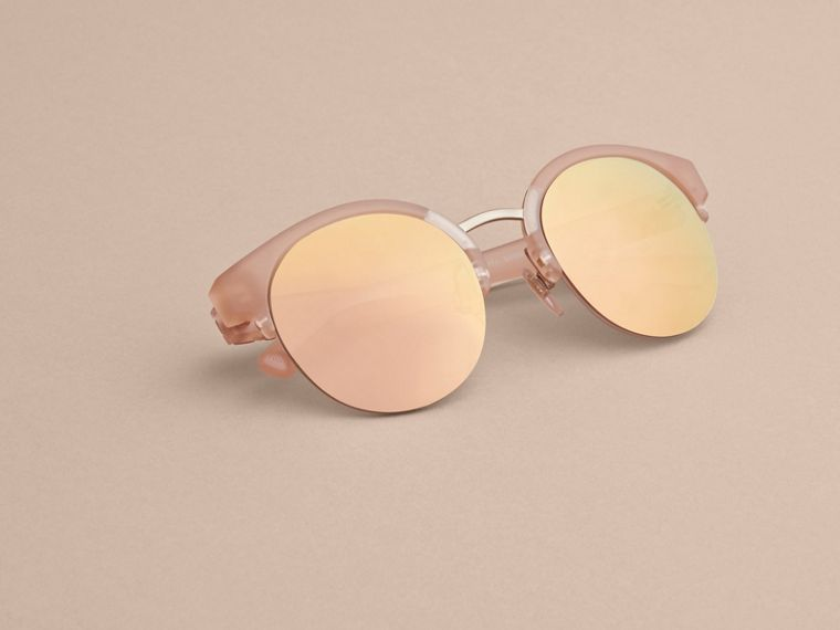 Check Detail Round Half-frame Sunglasses in Nude - Women | Burberry Canada - cell image 4