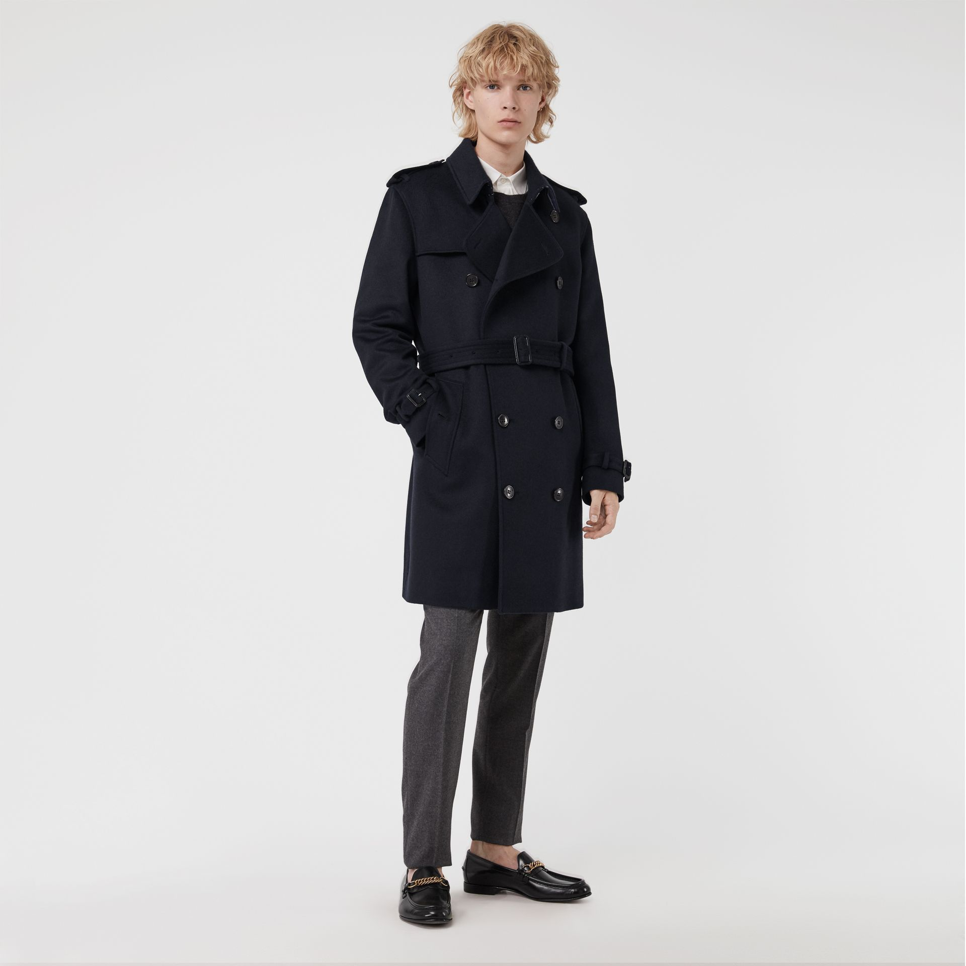 Cashmere Trench Coat in Navy - Men | Burberry - gallery image 6