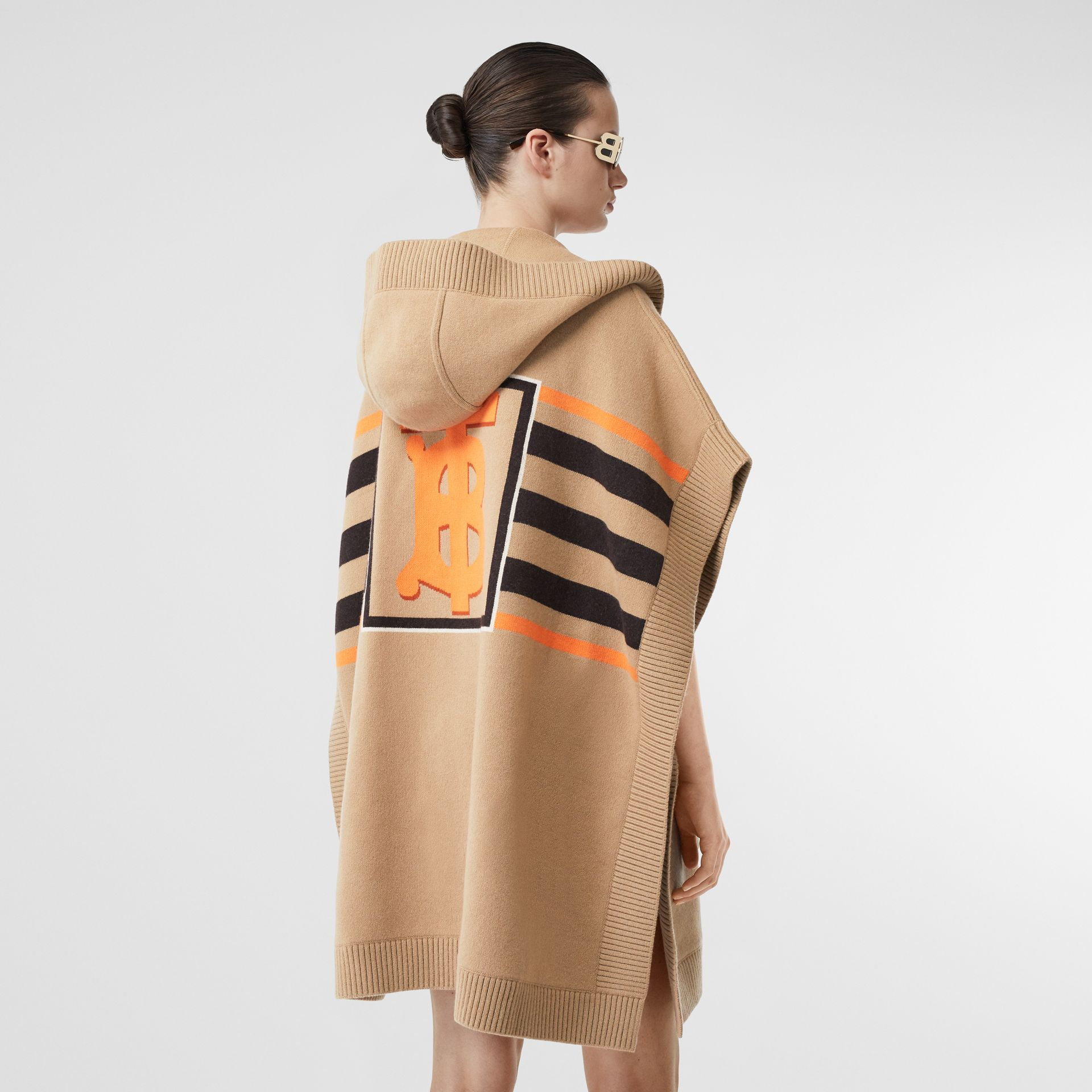 Monogram Motif Intarsia Wool Cashmere Blend Cape in Archive Beige - Women | Burberry Australia - gallery image 2